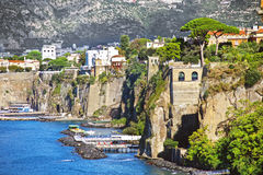 Elevated view of Sorrento and Bay of Naples, Italy. Amazing view of Sorrento resort city and Bay of Naples in Italy Stock Photography