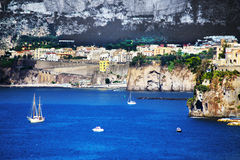 Elevated view of Sorrento and Bay of Naples, Italy. Amazing view of Sorrento resort city and Bay of Naples in Italy stock photos