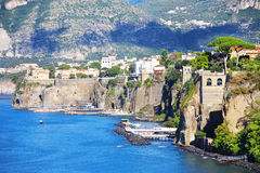 Elevated view of Sorrento and Bay of Naples, Italy. Amazing view of Sorrento resort city and Bay of Naples in Italy royalty free stock photography