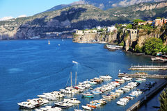 Elevated view of Sorrento and Bay of Naples, Italy. Amazing view of Sorrento resort city and Bay of Naples in Italy royalty free stock image
