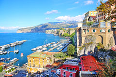 Elevated view of Sorrento and Bay of Naples, Italy. Amazing view of Sorrento resort city and Bay of Naples in Italy Stock Images