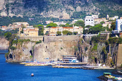 Elevated view of Sorrento and Bay of Naples, Italy. Amazing view of Sorrento resort city and Bay of Naples in Italy stock image