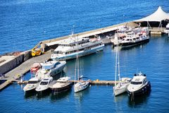 Elevated view of Sorrento and Bay of Naples, Italy. Sorrento, Italy: Elevated view of yachts, Sorrento and Bay of Naples, Italy stock photos
