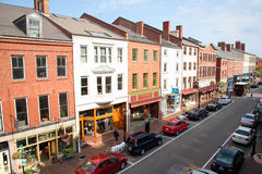 Elevated view of storefronts on Market Street, Royalty Free Stock Photo
