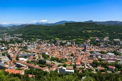 Elevated view in Summer of the city of Gap in Hautes-Alpes. Alps, France. Elevated view in Summer of the city of Gap in Hautes-Alpes. Southern French Alps royalty free stock images
