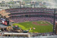 An elevated view of the third Busch Stadium, St. Louis, Missouri, where the Pittsburgh Pirates beat the 2006 World Series Champion Royalty Free Stock Photos