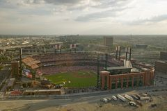 An elevated view of the third Busch Stadium, St. Louis, Missouri, where the Pittsburgh Pirates beat the 2006 World Series Champion