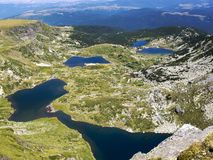Elevated view to four of the Seven Rila Lakes in Rila Mountains, Bulgaria stock photos