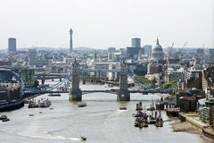 Elevated view of Tower Bridge and St Pauls, London Royalty Free Stock Photography