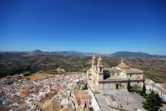Church and town, Olvera, Andalusia. Royalty Free Stock Photography