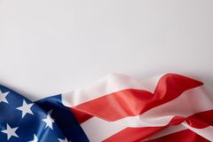 Elevated view of united states of american flag on white surface royalty free stock photo