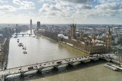 Elevated view of Westminster Bridge, the river Thames and the Houses of Parliament, London. Elevated view of Westminster Bridge and the Houses of Parliament Royalty Free Stock Photo