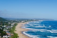 Elevated view of Wilderness Beach, Garden Route in South Africa. The seaside town of Wilderness is situated at the bottom of the Kaaimans Pass, east of the city royalty free stock images