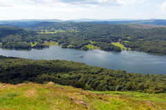 Elevated view Windermere Lake District Cumbria England UK in summer Royalty Free Stock Photos