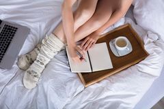 Elevated View Of Woman Writing In Diary stock photos