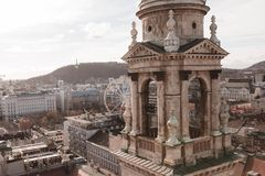 Elevated views of budapest and ferris wheel royalty free stock photo