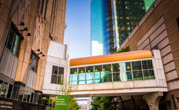 Elevated walkway and buildings in Charlotte, North Carolina. Stock Photo