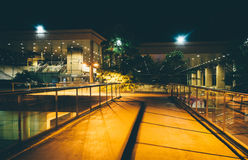 Elevated walkway and buildings at night in Baltimore, Maryland. Royalty Free Stock Photo
