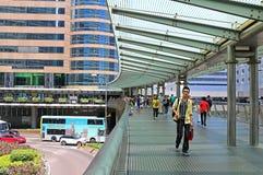 Elevated walkway in central, hong kong Royalty Free Stock Photos