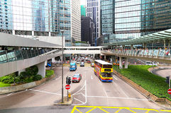 Elevated walkway downtown hong kong Royalty Free Stock Images