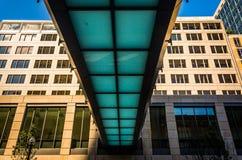 Elevated walkway over Stuart Street in Boston, Massachusetts. Stock Photo