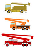 Elevated work platform. Colourful elevated work platforms, bucket trucks in retro style on a white background Stock Photo