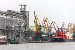 Elevating complex for transshipment of grain and oilseeds as par stock photography