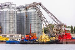 Elevating complex for transshipment of grain and oilseeds as par stock photo