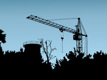 The elevating crane. The image of a silhouette of the elevating crane Stock Illustration