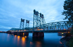 Elevating metal truss bridge over the Columbia River I-5 Interst Royalty Free Stock Photos