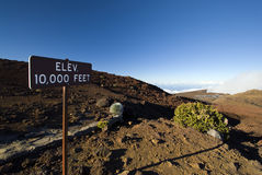 Elevation 10,000 ft sign in Haleakala National Park, Maui, Hawaii Stock Photo