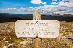 An elevation above sea level sign in Rocky Mountain National Park, Colorado Stock Image
