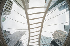Elevation angle of The Skywalk in Sathorn district,Bangkok,Thailand. Stock Photography