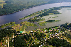 With an elevation of 600 meters above the ground. With an elevation of 600 meters above the Earth and everything seems toy house and the river and lesa.Foto made Stock Image