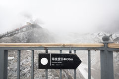 Elevation of path on Jade dragon mountain, Lijiang China Stock Image