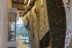 Elevation Place Rock Climbing Wall in Canmore, Alberta Royalty Free Stock Image