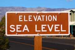 Elevation Sea Level Sign. Sign denoting Elevation at Sea Level in the Stovepipe Wells Village of Death Valley National Park stock image