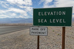 Elevation Sea Level Sign Stock Photo