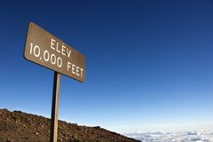Elevation sign in Maui, Hawaii. Elevation sign in Haleakala National Park in Maui, Hawaii stock photos