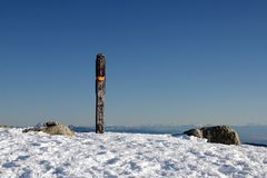 A elevation sign in snow mountain Stock Image