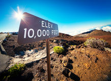 Elevation Sign at the Summit of Haleakala, Maui Stock Photography