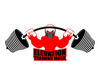 Elevation Training mask fitness. Athlete and barbell. Emblem for Royalty Free Stock Photography