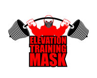 Elevation Training mask fitness. Athlete and barbell. Emblem  Royalty Free Stock Photos