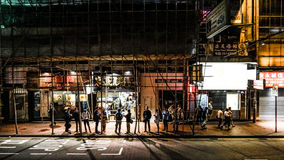 Elevation view of Hong Kong street local life after work at nigh Stock Images