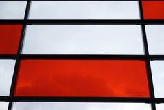 Elevation. White and red, glass, stadium, train Warsaw stadium, railway station Royalty Free Stock Photography