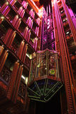 Elevator. Luxury Glass Elevator With Colored Lights Royalty Free Stock Photos
