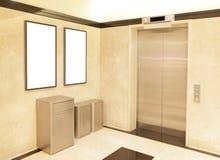 Elevator and blank billboard stock image
