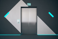 Elevator with blue lighting Stock Images