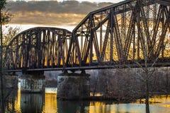Elevator Bridge. Railroad elevator bridge over the Arkansas River at sunset in Van Buren, Arkansas Stock Image