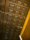 Elevator buttons. Looking down on some elevator buttons Stock Photography